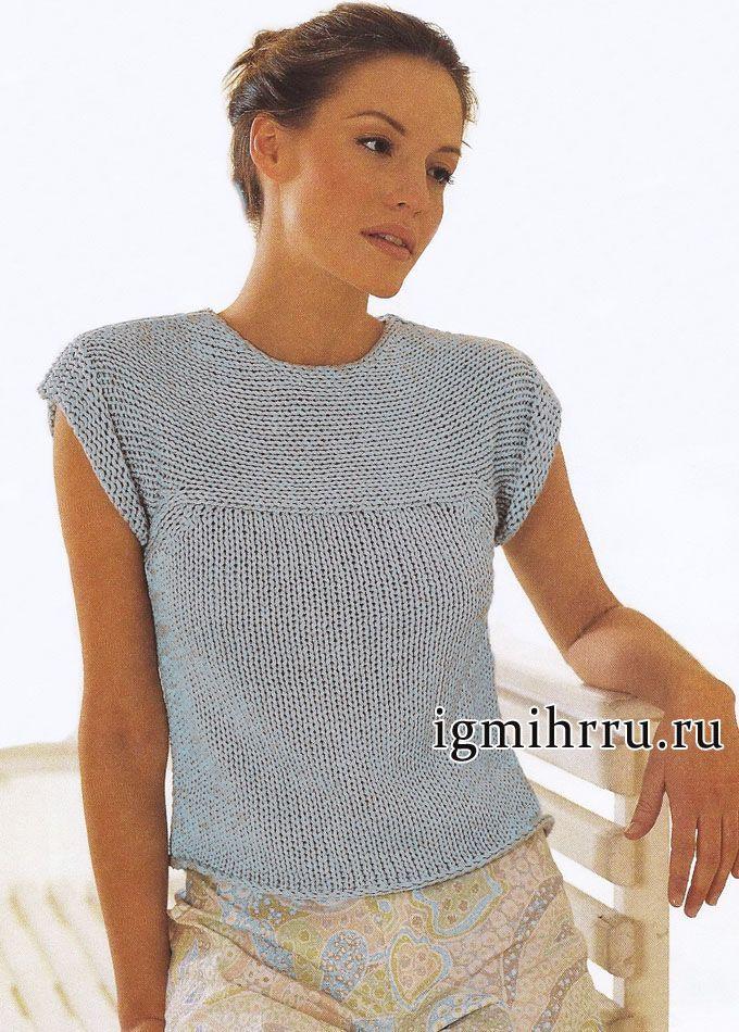 Вязание женского топа спицами 155