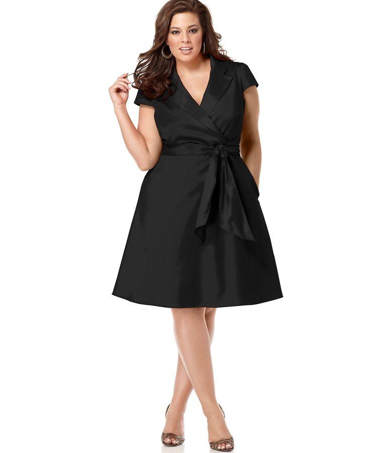 Spense plus size short sleeve wrap dress for Macy s wedding dresses plus size