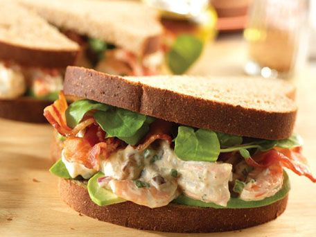 ... of bread...Shrimp Salad Sandwiches with Avocado, Bacon & Watercress