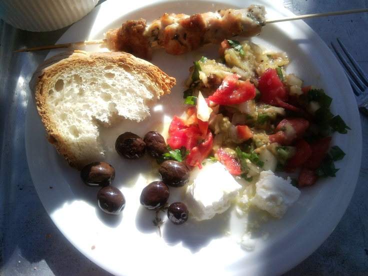 Chicken souvlaki with eggplant salad and feta cheese and olives # ...