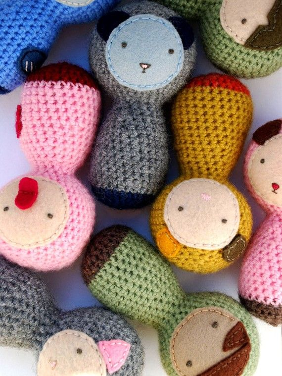 Crocheted Baby Rattle (Grey/Pink Cat)