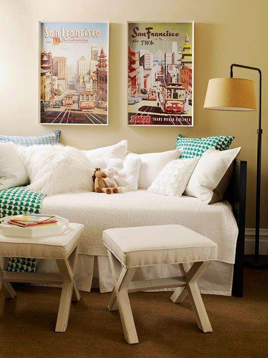Daybeds can be a couch by day and a guest bed by night. More ideas for your apartment: http://www.bhg.com/decorating/small-spaces/strategies/ideas-to-steal-for-your-apartment/?socsrc=bhgpin082112ApartmentIdeas=17