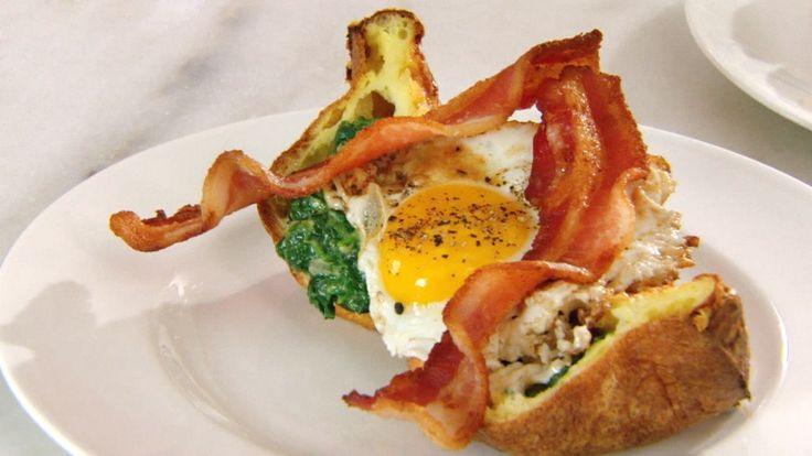 Gruyere Popover Sandwiches Fried Eggs Creamed | Rachael ...