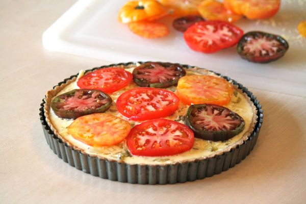 Heirloom tomato and caramelized onion tart with a whole wheat and ...
