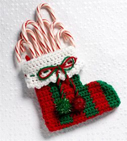 Free Crochet Patterns For Mini Christmas Stockings : Crocheted Mini Stocking - free pattern Christmas crochet ...