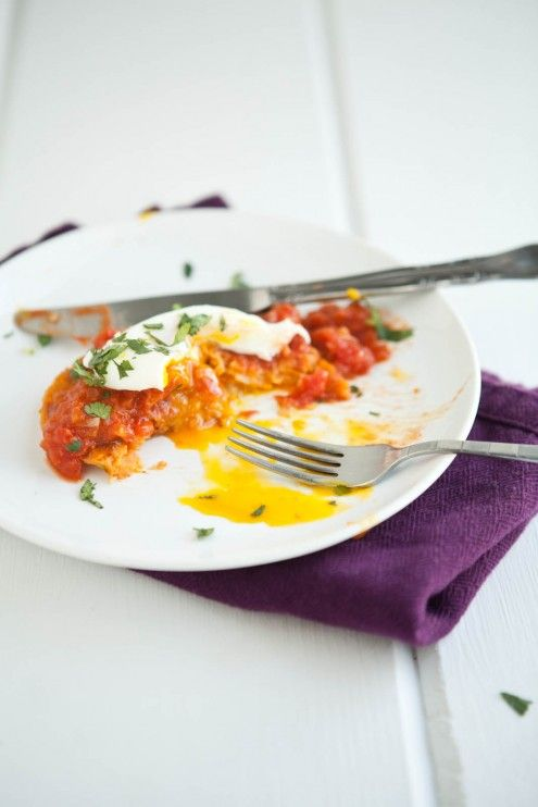 Sweet Potato Cakes with Makhani Tomato Sauce and Poached Egg | Recipe