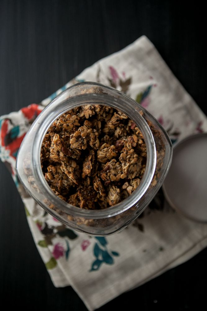 Roasted banana-nut granola with maple syrup, cinnamon, nutmeg, salt ...