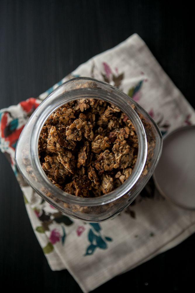 Roasted banana-nut granola with maple syrup, cinnamon, nutmeg, salt ...