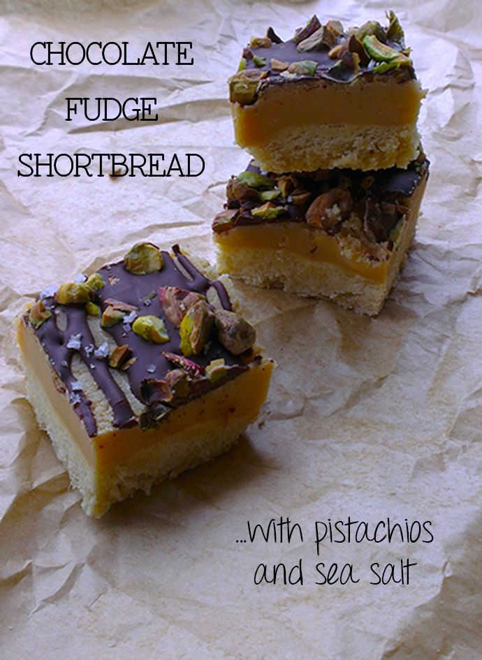 chocolate fudge shortbread with pistachios and sea salt