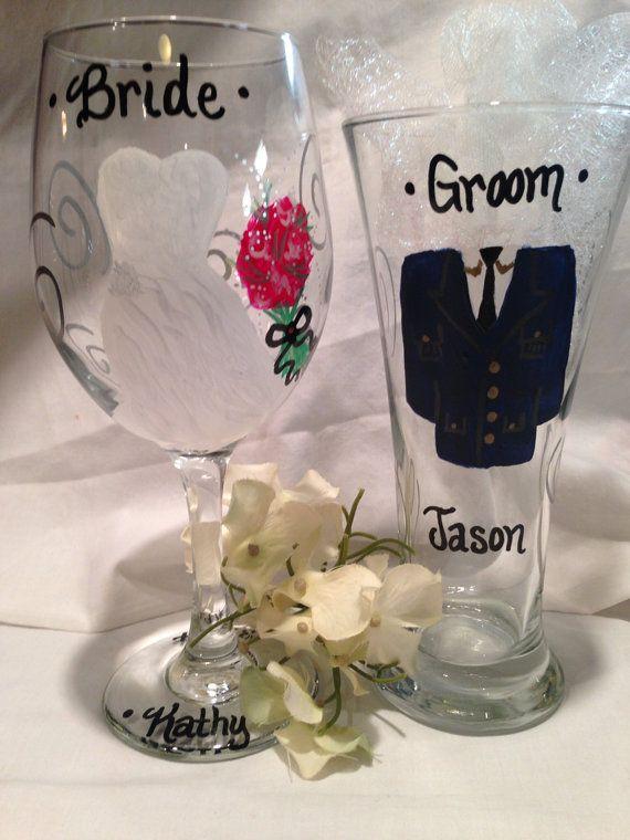Wedding wine glasses military wedding hand painted personalized bri