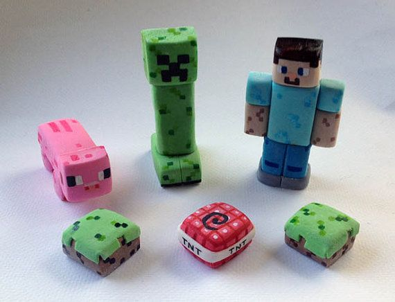 Cake Toppers Minecraft Uk : Minecraft Inspired Cake Toppers justins stuff Pinterest
