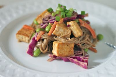 Soba Noodles and Tofu with Spicy Peanut Sauce - The Corner Kitchen