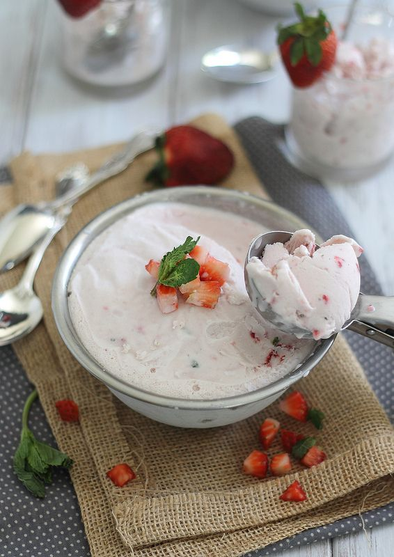Roasted strawberry mint ice cream (dairy free) | Recipe