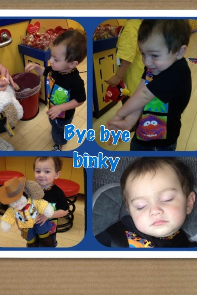 """Trying to take that binky away from your child?? Here's a great way, take him/her to Build a Bear and have your child stuff all the binkies in there and once they sew it up, make sure your child tells them """"bye bye."""" This so far has worked for us! And he is almost two. Good luck!"""