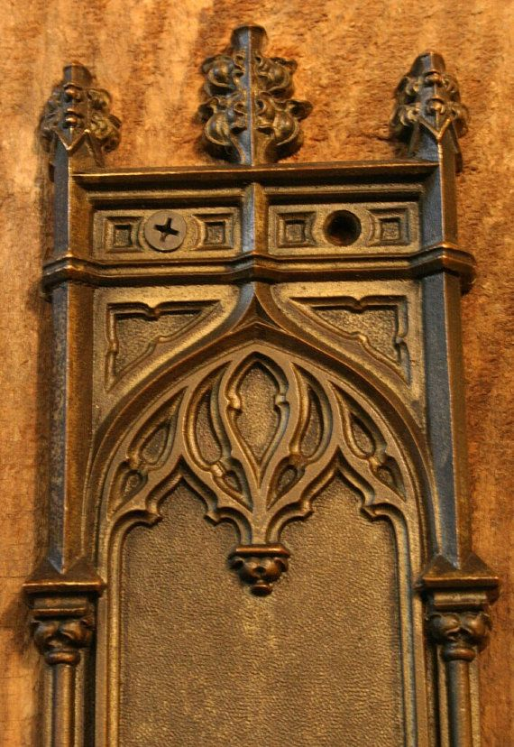 1890s Antique Brass Gothic Door Push Plates By Oldportlandhardware