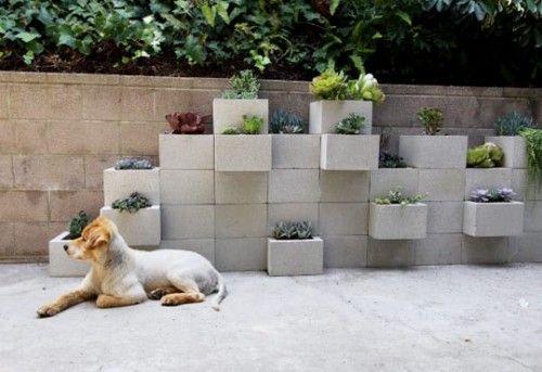 cinder block succulent garden
