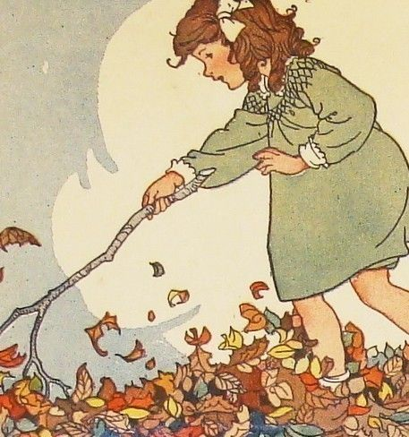 Playing in the Leaves. Reproductions of charming illustrations from 1930s American children's schoolbooks on etsy.com.