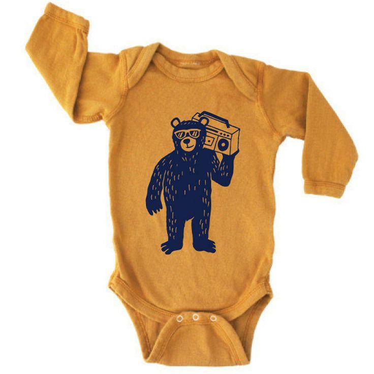 Boombox Bear Long Sleeve One-Piece, Gold
