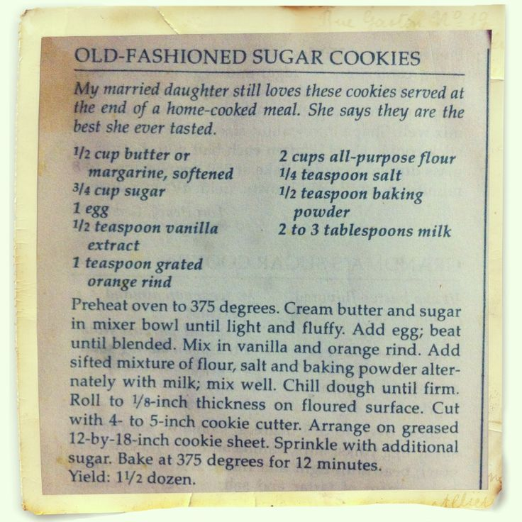 Old Fashioned Sugar Cookie Recipe   All Things Sweet   Pinterest