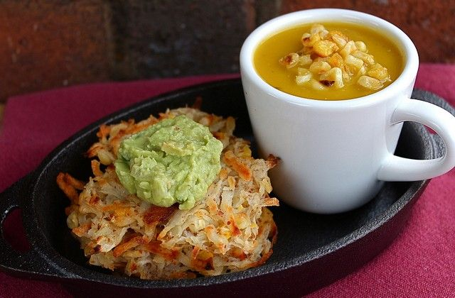 Roasted Pumpkin & Poblano Corn Soup w/ Baked Corn Potato Latkes #vegan
