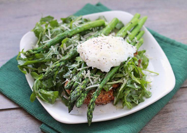 Roasted Asparagus & Poached Eggs On Toast Recipe — Dishmaps