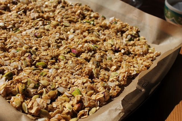 Honey-Olive Oil Granola with Dried Apricots and Pistachios