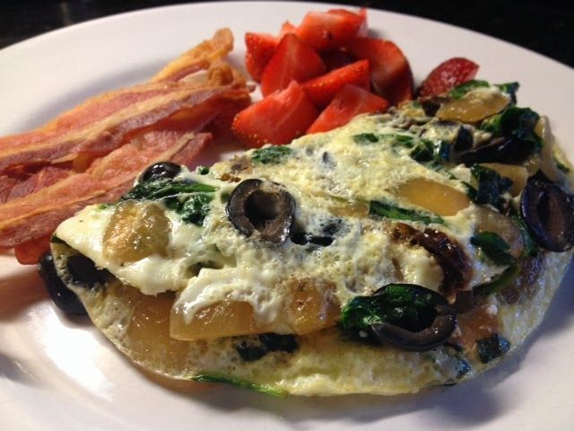 Breakfast this morning...egg white omelet with spinach, onions, sun ...
