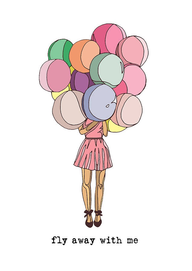 'Fly Away With Me' Balloons Print