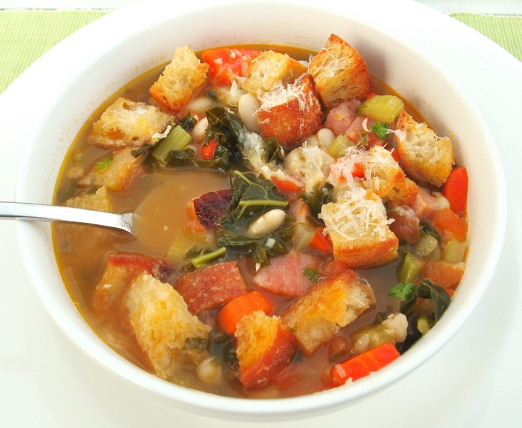 Tuscan Bean Soup, eliminate ham and white bread and its a plant based ...