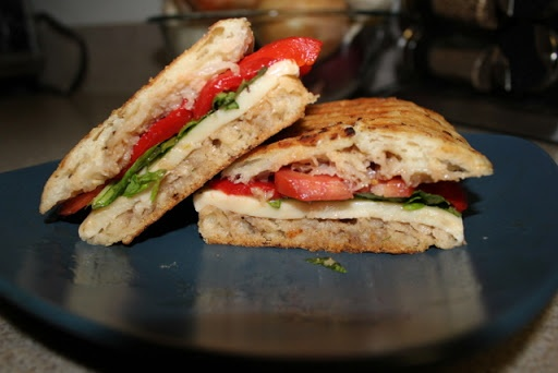 ... basil tomato fresh mozzarella roasted pepper on whole wheat bread
