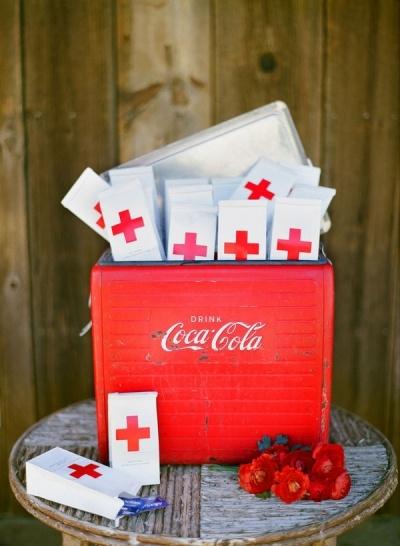 red cross wedding favors in coca cola box