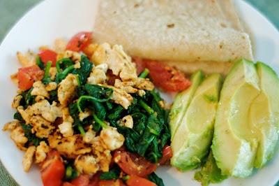 Tomato and spinach tofu scramble with avocado and gf tortilla!