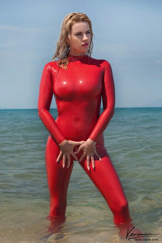 Girls in red latex catsuit