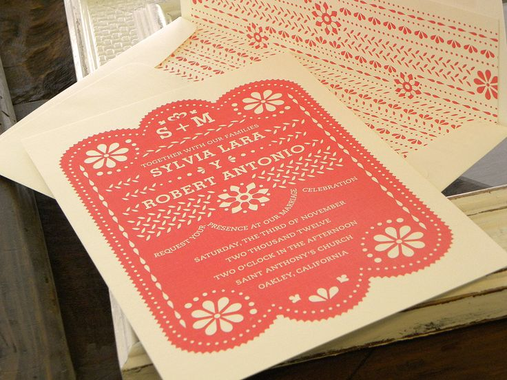 Papel Picado Invitation Set In Coral And Natural