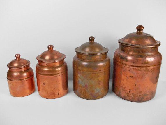 Vintage Copper Canister Set Kitchen Storage