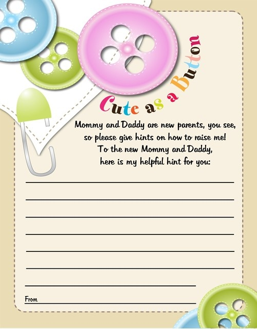 cute as a button baby shower notes of advice