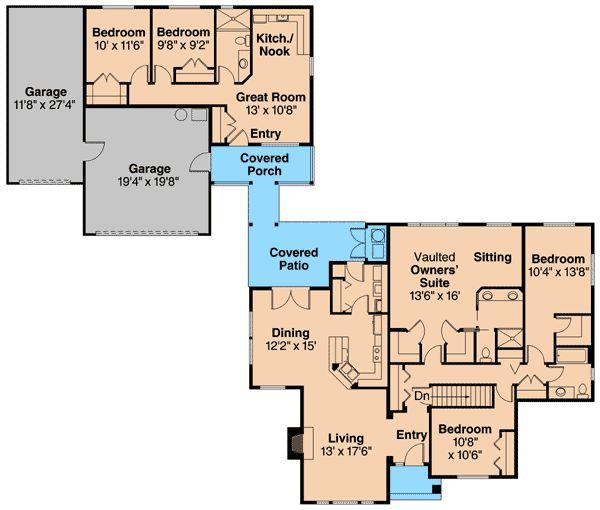 Unique Home Plan With Guest Cottage