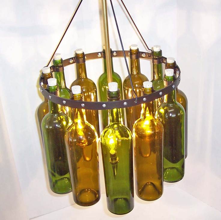 16 recycled wine bottle chandelier sea glass with black wrought i - Wine bottles chandelier ...