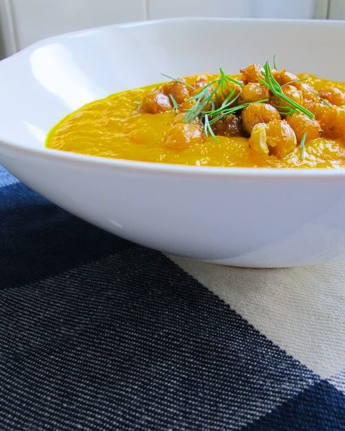 Carrot Ginger Soup topped with Za'atar Poppers (chickpeas roasted in a ...