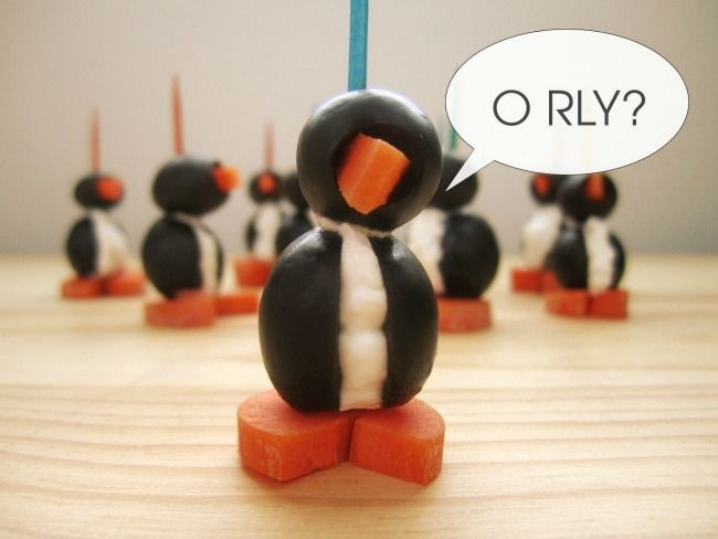 ... are too cute! Olive and Cream Cheese Penguins - Eat. Drink. Love