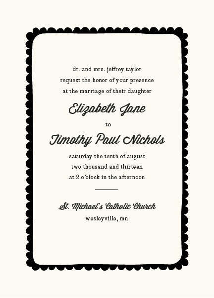 simple scallop wedding invitations by laura hankins for minted