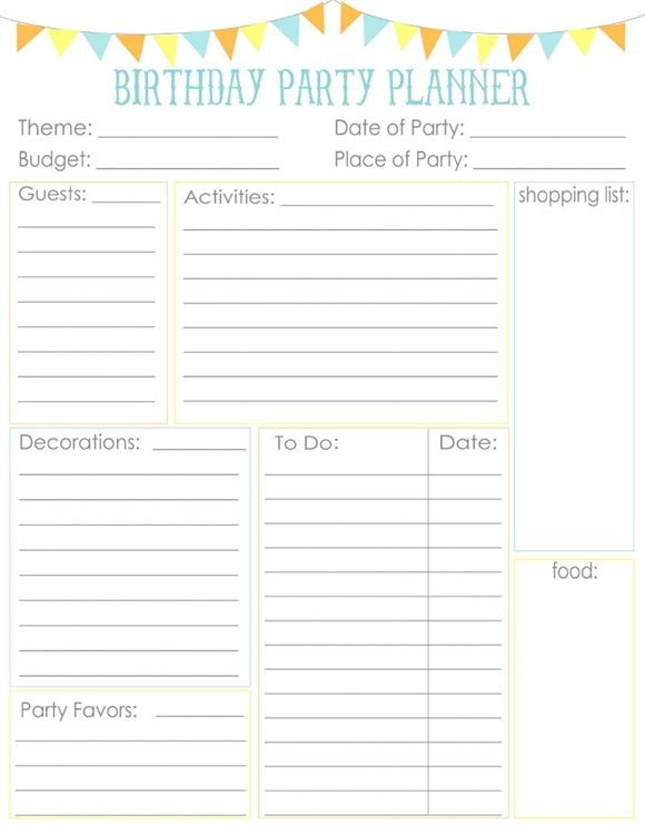 Birthday Party Planning Sheet Everything I Need On One