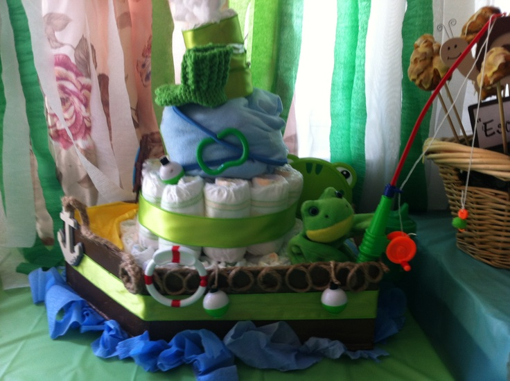 Diaper boat I made for my sister in laws Frog pond theme baby shower