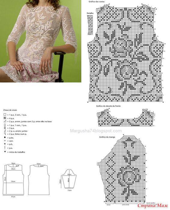 Филейное вязание блузки крючком 22