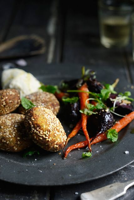 Broad (Fava) Bean and Chickpea Falafel with Cumin & Honey Roasted ...