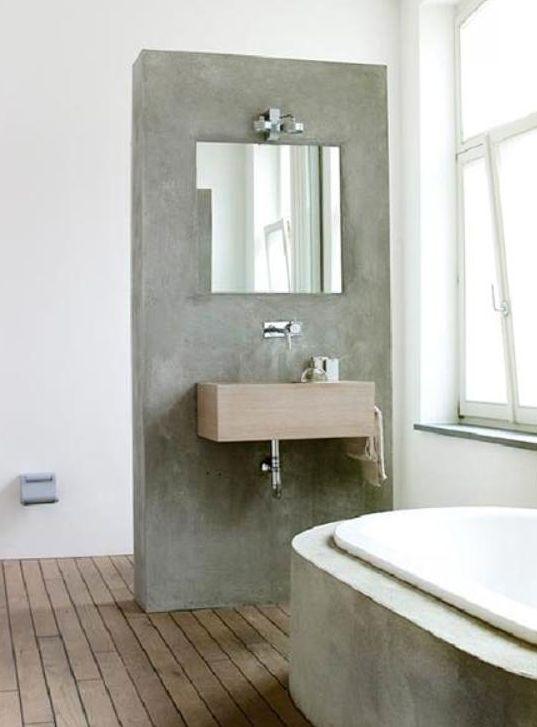 Goedkope Drain Badkamer ~ Beton look en hout voor de badkamer  Badkamers  Pinterest