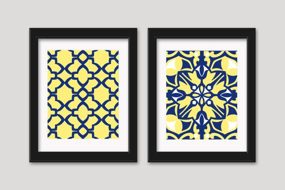 Yellow and blue art yellow and navy decor wall decor for Etsy dining room wall art