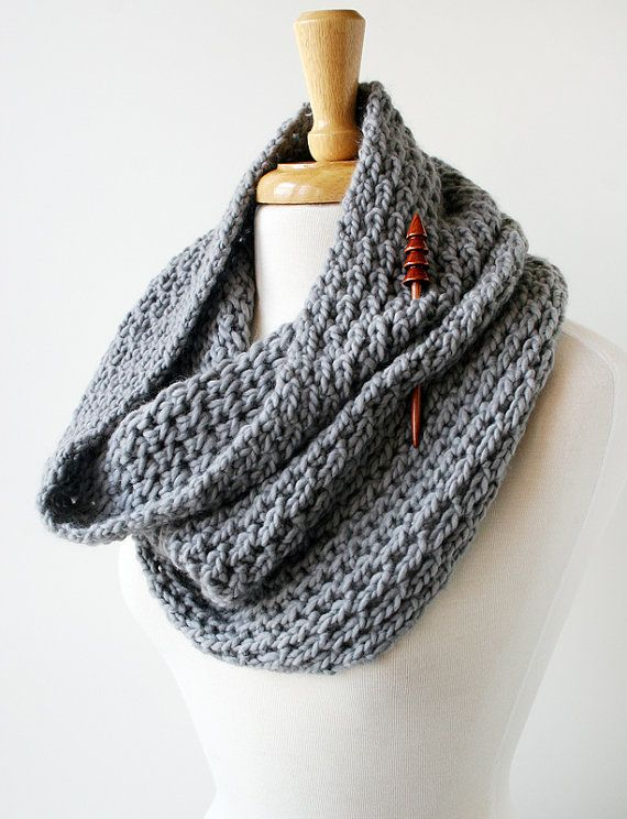 Women's Fashion Accessories - Loop Scarf for winter and fall, in gray