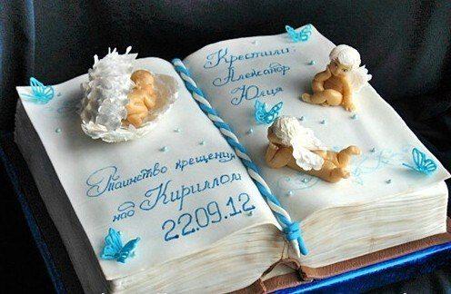 Торт на крестины мальчику