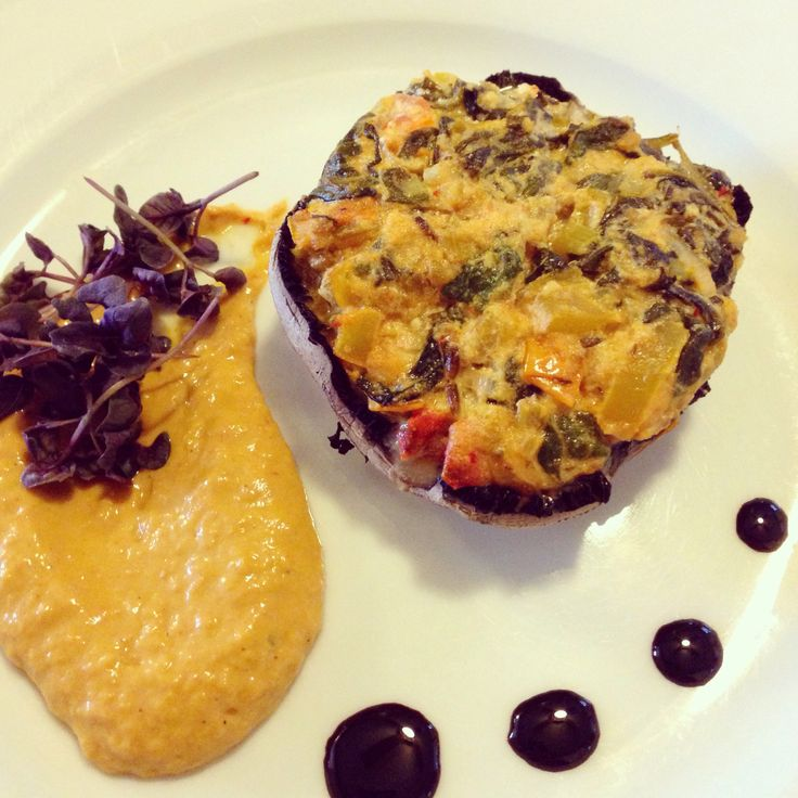 Goat cheese, spinach, pepper and tomato stuffed mushroom with roasted ...